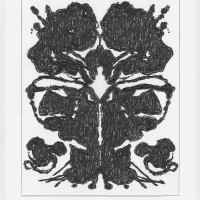 John Zinsser, Drawing Warhol: Rorschach Painting (Black Variation II), 2015, Farbstift auf Papier, 55,9 x 45,7 cm