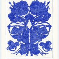 John Zinsser, Drawing Warhol: Rorschach Painting (Blue Variation), 2015
