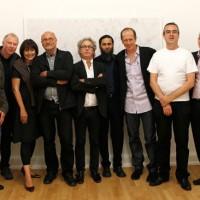Papier/Paper, 2011, Gruppenbild der Künstler und Galeristen: Karim Noureldin, Werner Haypeter, Gisela Clemen, Frank Badur, Beat Zoderer, Hadi Tabatabai, John Zinsser, Detlef Beer, Michael Schneider